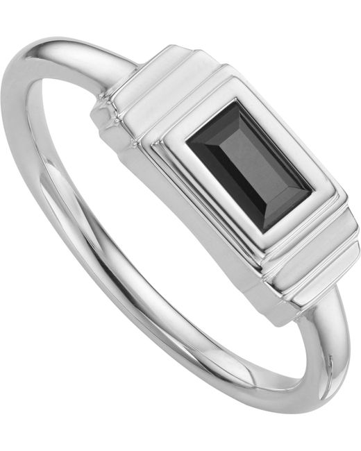 Monica Vinader - Metallic Baja Deco Sterling Silver And Onyx Ring - Lyst