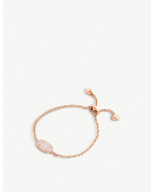 Kendra Scott - Metallic Elaina 14ct Rose Gold-plated And Light Prink Drusy Bracelet - Lyst