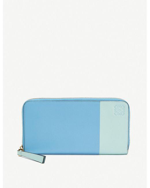 Loewe Blue Rainbow Zip Around Leather Wallet