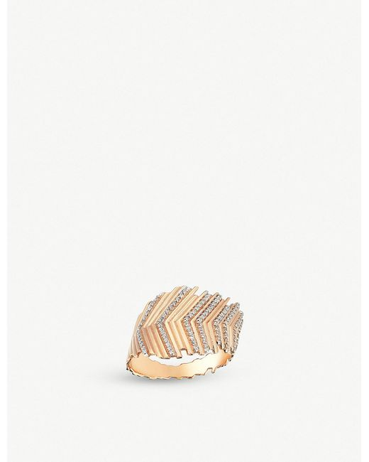 The Alkemistry - Metallic Kismet By Milka 14ct Feather Rose-gold And Diamond Ring - Lyst