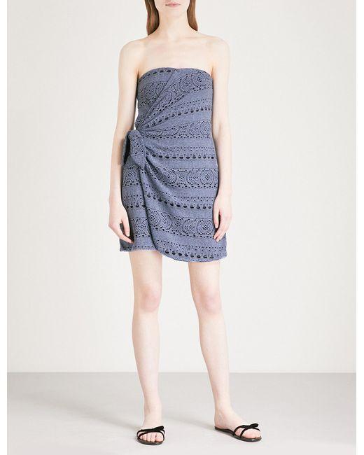 Free People - Blue Oceanside Cotton-blend Mini Dress - Lyst