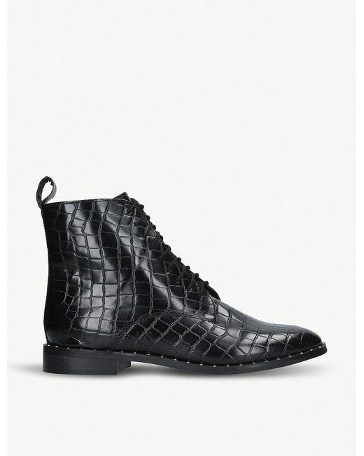KG by Kurt Geiger - Black 'tilda' Croc Print Lace Up Boots - Lyst