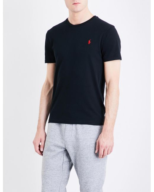 1d8ab1c03 Polo Ralph Lauren - Black Logo-embroidered Custom Slim-fit Cotton-jersey T