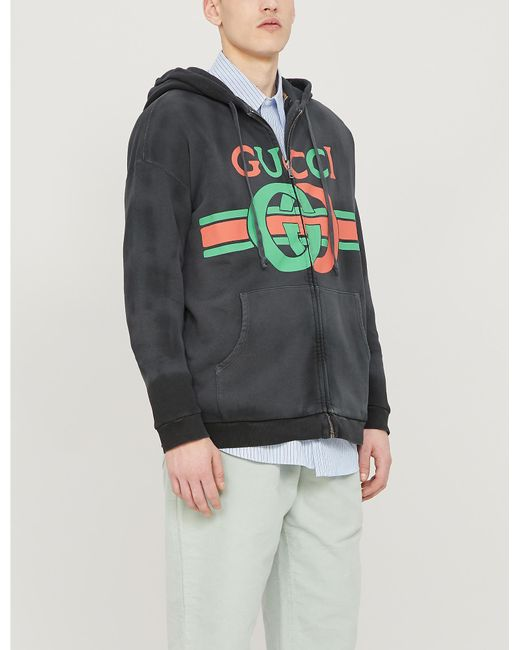 124648fef Gucci - Black Reversible Sweatshirt With Interlocking G for Men - Lyst