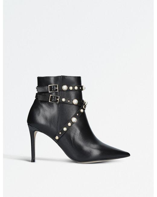 Carvela Kurt Geiger - Black Granite Faux Pearl-embellished Leather Ankle Boots - Lyst