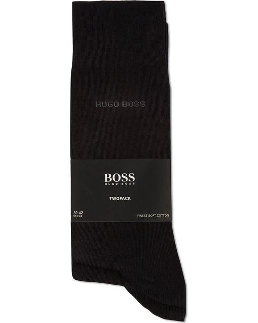 BOSS - Black Pack Of Two Plain Socks for Men - Lyst