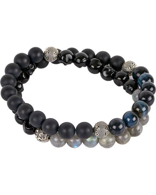 Nialaya | Black Matte Onyx And Blue Tigers Eye Beaded Bracelet | Lyst