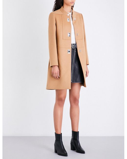 Maje   Brown Godiva High-neck Wool And Cashmere-blend Coat   Lyst