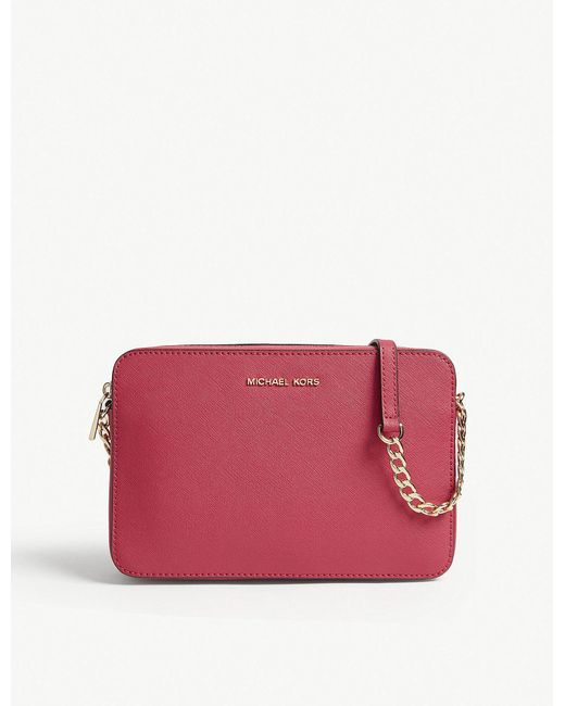 MICHAEL Michael Kors | Pink Jet Set Leather Cross-body Bag | Lyst