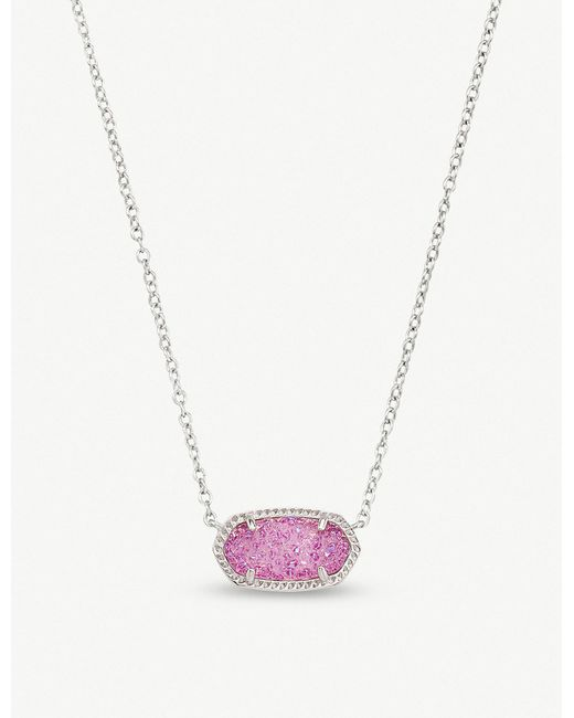 Kendra Scott - Purple Elisa Rhodium-plated And Violet Drusy Pendant Necklace - Lyst