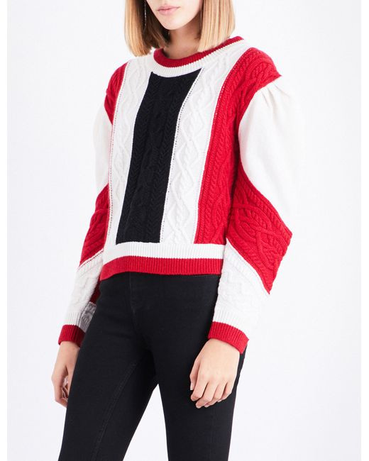 Claudie Pierlot   Red Mixity Knitted Wool Jumper   Lyst