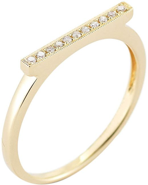 The Alkemistry - Metallic Diamond Bar 14ct Yellow-gold Ring - Lyst