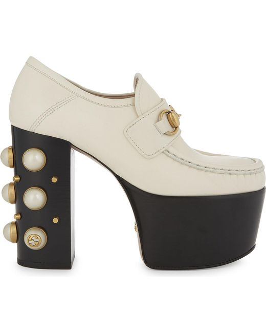 Gucci | White Vegas 125 Pearl Leather High Heeled Loafers | Lyst