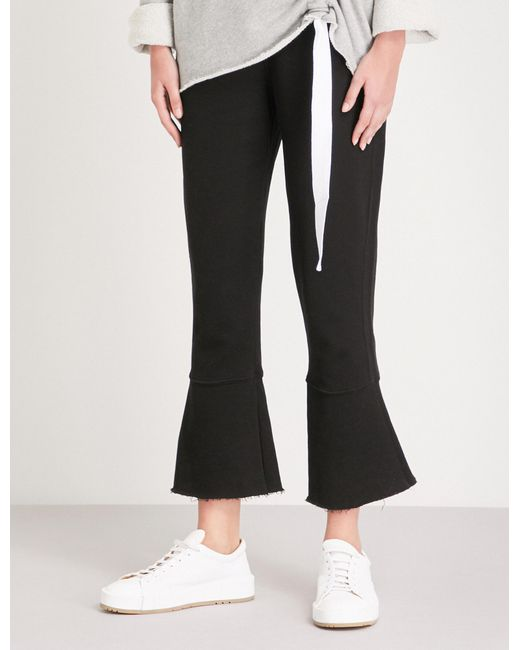 Stateside - Black Flared-cuff Straight Mid-rise Cotton-jersey Trousers - Lyst