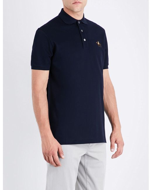 Ralph Lauren Purple Label | Blue Logo Cotton Polo-piqué Shirt for Men | Lyst