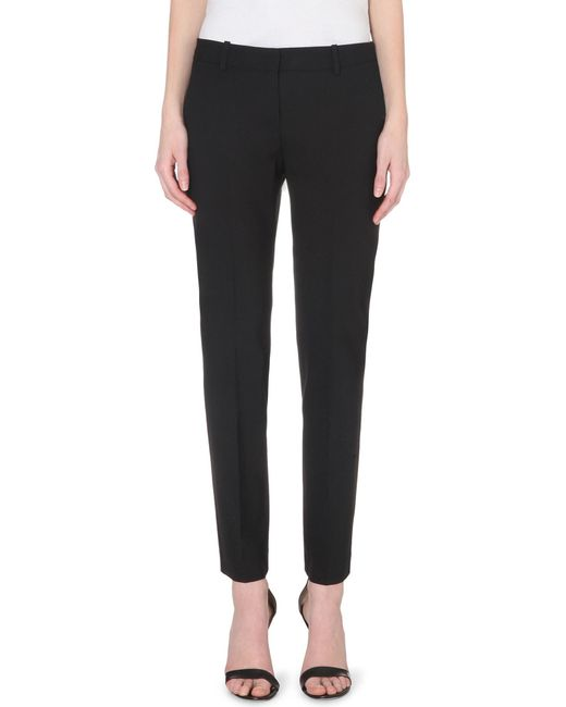 Theory - Black Testra Tapered Wool-blend Trousers - Lyst