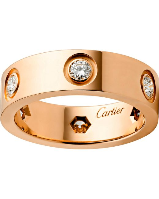 Cartier - Love 18ct Pink-gold And Diamond Ring - Lyst