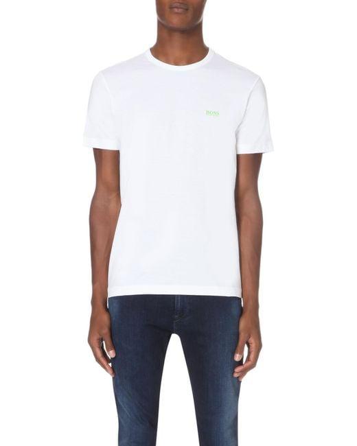 BOSS Green White Hugo Boss Branded Cotton-jersey T-shirt for men