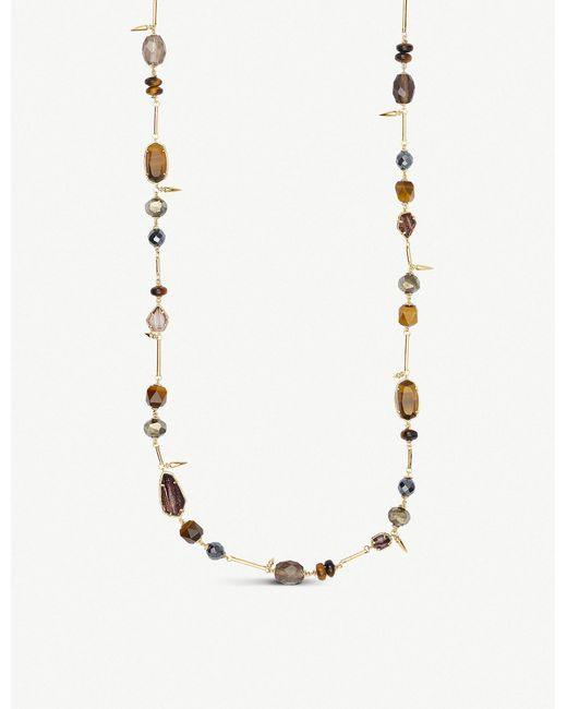 Kendra Scott - Metallic Ruth Gold Long Necklace In Brown Mix - Lyst