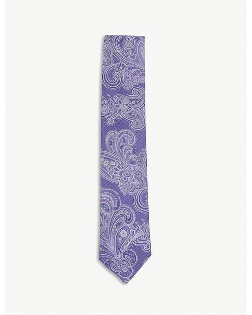 Eton of Sweden - Purple Diagonal-stripe Silk-blend Tie for Men - Lyst