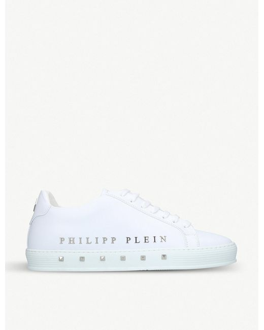Philipp Plein - White The First Stud-embellished Leather Trainers for Men - Lyst