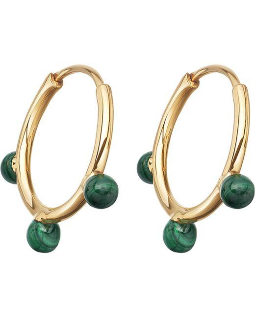 Astley Clarke - Metallic Hazel Yellow-gold Vermeil & Malachite Hoop Earrings - Lyst