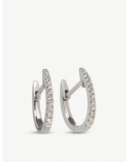 Annoushka - Metallic 18ct White Gold And Diamond Eclipse Fine Hoop Earrings - Lyst