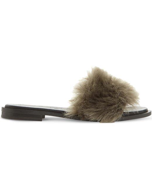 Dune Black - Gray Lorel Faux-fur Sandals - Lyst