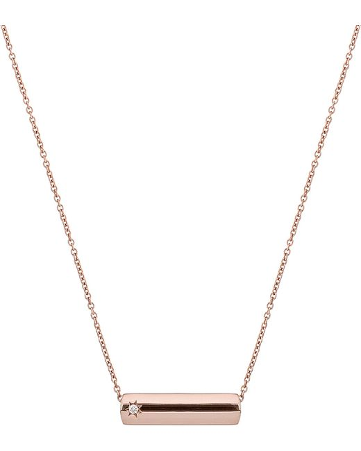 The Alkemistry - Metallic Star Bar 9ct Rose Gold And Diamond Necklace - Lyst