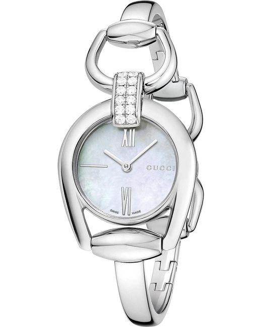 Gucci - Metallic Ya139504 Horsebit Diamond Quartz Ladies Watch - Lyst