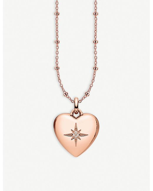 Thomas Sabo - Multicolor Heart 18ct Rose Gold-plated And Diamond Locket Necklace - Lyst