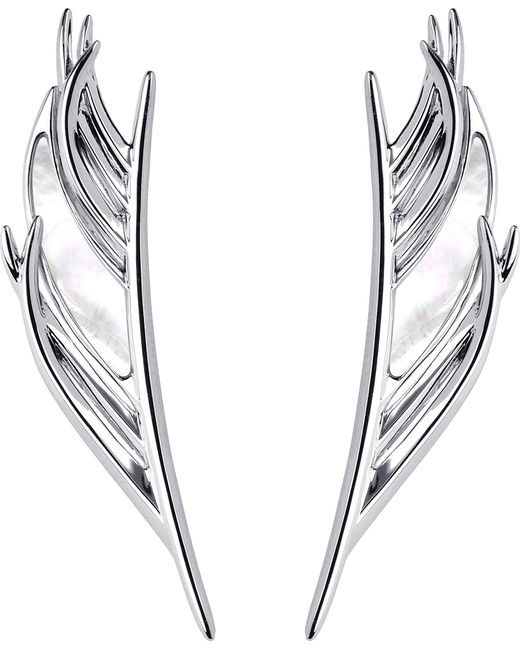 Shaun Leane   Metallic White Feather Silver And Mother-of-pearl Earrings   Lyst