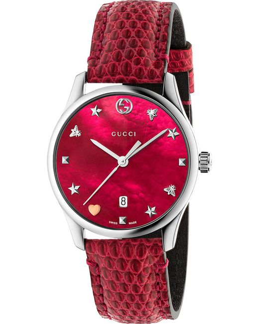 Gucci - Red Ya126585 G-timeless Mother-of-pearl And Lizard-leather Strap Quartz Watch - Lyst