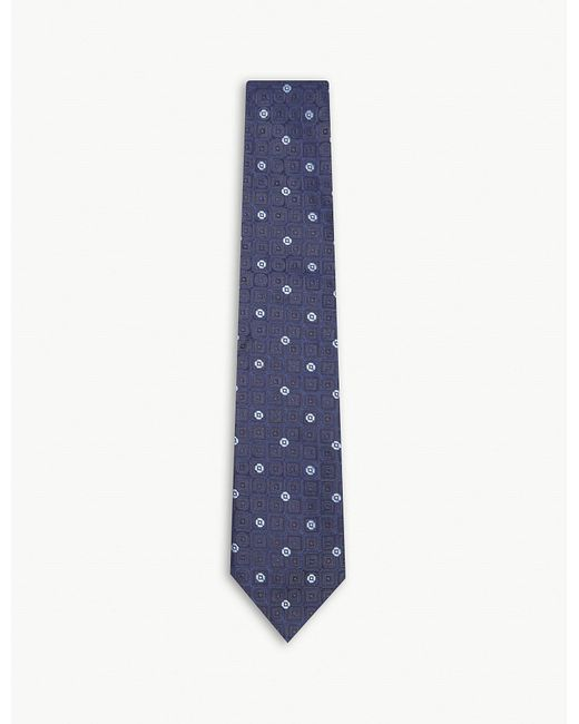 Eton of Sweden - Blue Tile Pattern Silk Tie for Men - Lyst