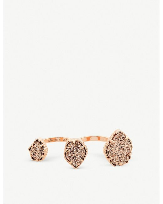 Kendra Scott - Metallic Naomi 14ct Rose-gold Plated And Drusy Double Ring - Lyst