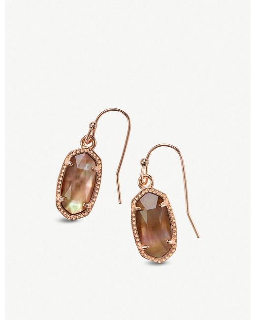 Kendra Scott - Metallic Lee 14ct Rose Gold-plated And Brown Mother-of-pearl Earrings - Lyst