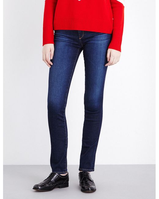 AG Jeans - Blue The Harper Skinny Straight Mid-rise Jeans - Lyst