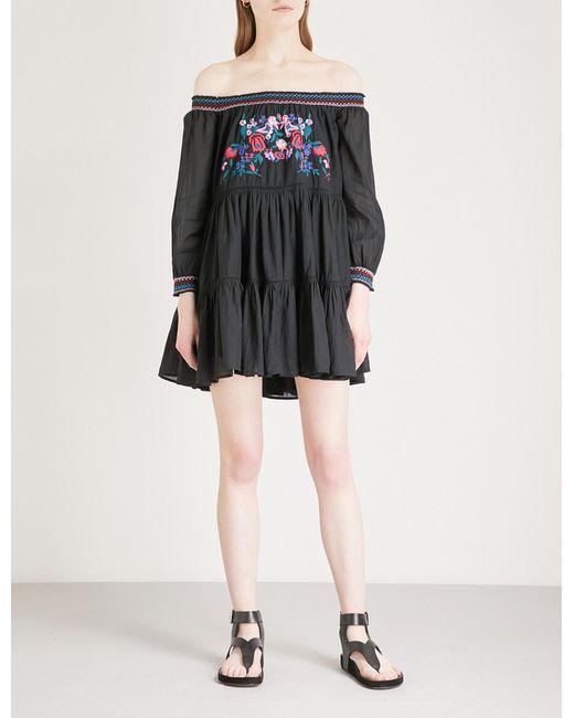 Free People - Black Sunbeams Off-the-shoulder Woven Dress - Lyst