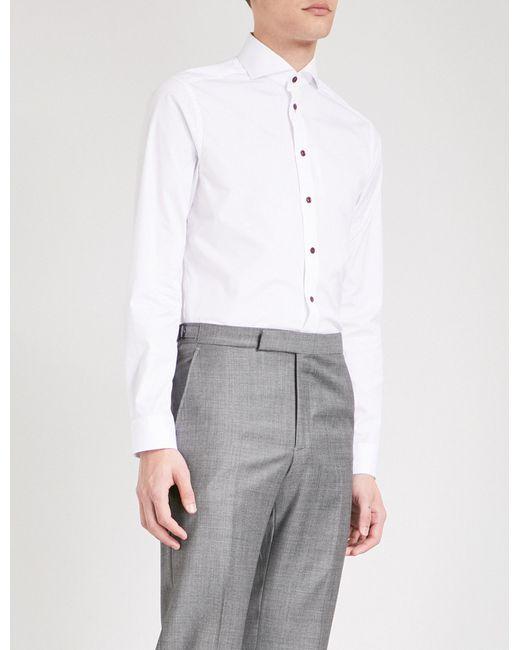 Lyst eton of sweden super slim fit cotton poplin shirt for Super slim dress shirts