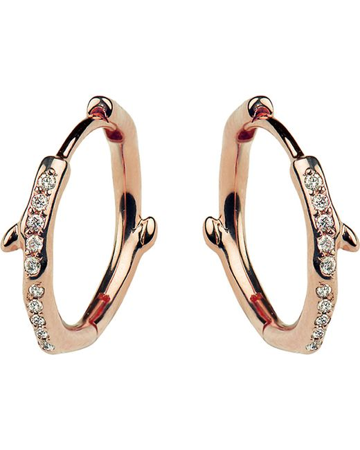 Shaun Leane - Multicolor Cherry Branch Rose-gold Vermeil And Diamond Hoop Earrings - Lyst