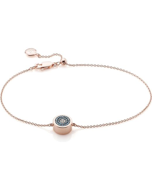 Monica Vinader - Metallic Linear 18ct Rose Gold-plated And Pavé Diamond toggle Bracelet - Lyst