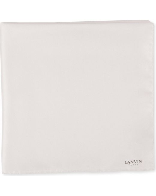 Lanvin - White Silk Pocket Square for Men - Lyst