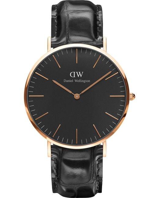 Daniel Wellington | Black Classic York Rose Gold Watch | Lyst