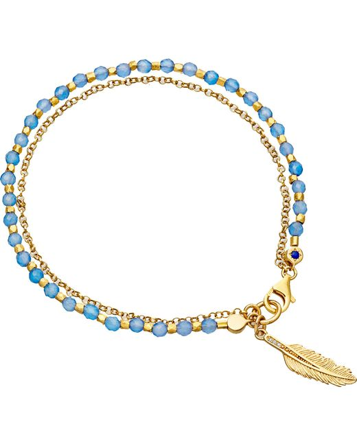 Astley Clarke - Blue Biography Feather 18ct Yellow Gold-plated Sterling Silver Bracelet - Lyst