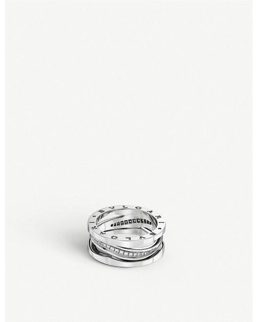 BVLGARI - B.zero1 18ct White-gold And Diamond Band Ring - Lyst