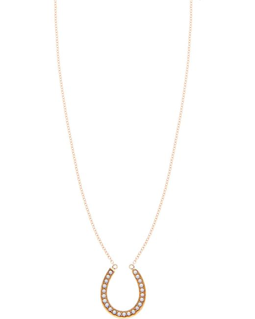 Annina Vogel | Black 9 Carat Gold And Pearl Horseshoe Necklace | Lyst