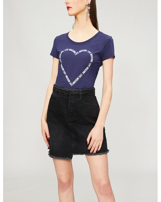 Love Moschino - Blue Heart Logo-print Cotton-blend T-shirt - Lyst