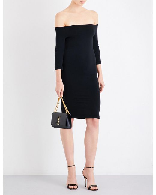 Wolford | Black Sheen Off-the-shoulder Stretch-jersey Dress | Lyst