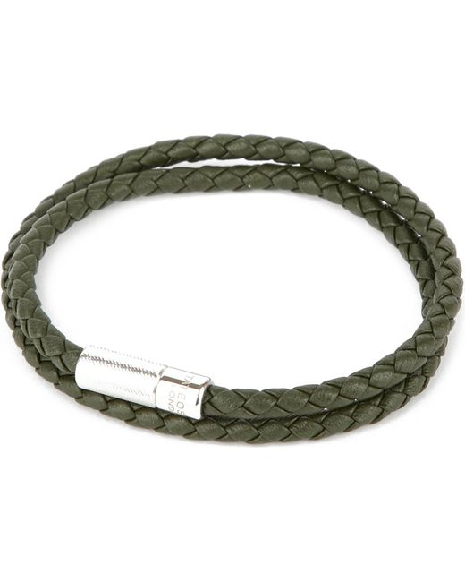 Tateossian | Green Pop Rigato Leather And Sterling Silver Bracelet for Men | Lyst