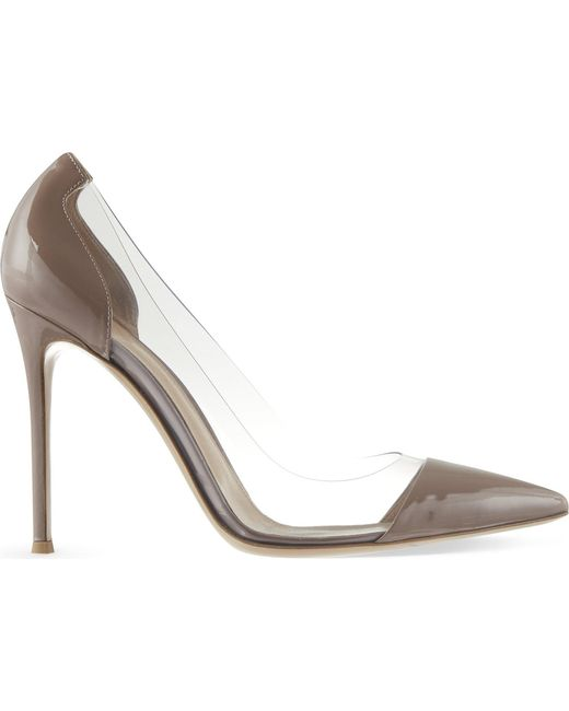 Gianvito Rossi - Gray Calabria Patent-leather Court Shoes - Lyst